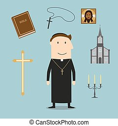 Priest and religious icons or symbols - Priest profession...