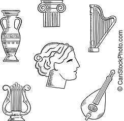 Art and musical instruments sketches