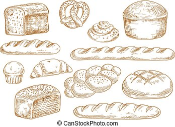 Bread and bakery sketch icons - Tasty fresh bread sketches...