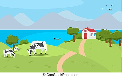 Vector illustration a house and cow in beautiful summer...