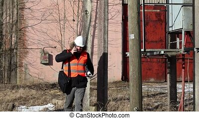 Engineer checking powerline