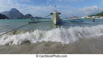 Fishermans village - El NIDO, PHILIPPINES - FEB 15: Morning...