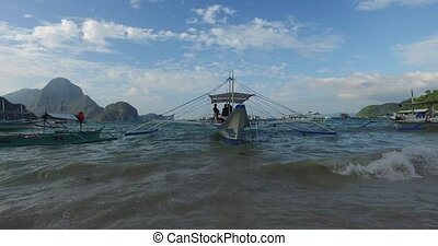 Fishermans village - El NIDO, PHILIPPINES - FEB. 15: Morning...