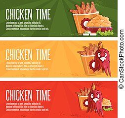 chicken time fast food vector banners