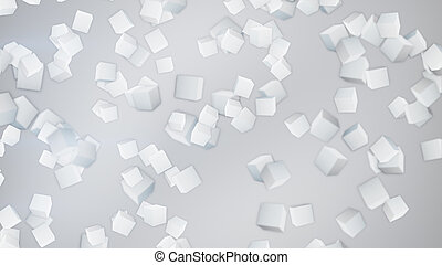 white 3D cubes abstract background