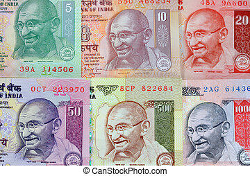 Gandhi on rupee notes - Colorful Gandhi images on Indian...
