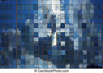 Abstract blue architectural background. - Modern building....