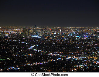 LA at Night - The Los Angeles Basin at night. View from top...