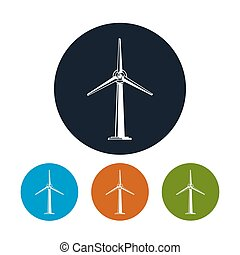 Wind Turbine Icons - Wind Turbine Icon, Four Types of...