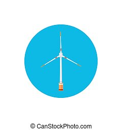 Wind Turbine Icon, Colorful Round Icon Horizontal Axis Wind...