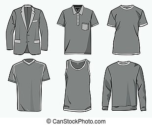 Mens clothing templates - Mens shirt, suit, jumper, tank top...