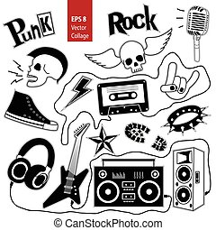 Punk rock music isolated on whete background set. Design elements, emblems, badges, logo and icons. Vector collage.
