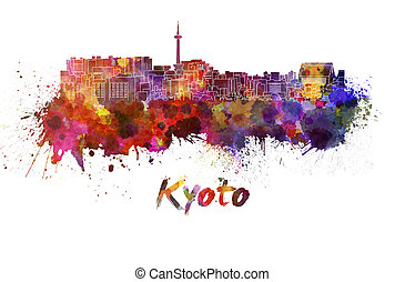 Kyoto skyline in watercolor splatters with clipping path