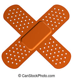 Cross bandaid, isolated on white background. 3D render.