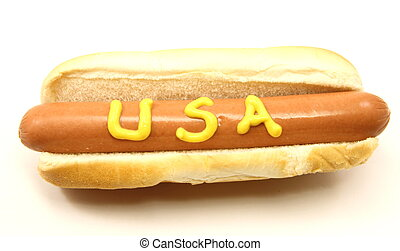 Foot Long Hot Dog with USA written on it in mustard