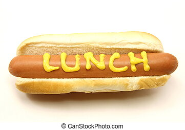 Foot Long Hot Dog with Lunch written in mustard