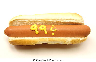 99 Cent Foot Long Hot Dog - A Foot Long Hot Dog and Bun with...