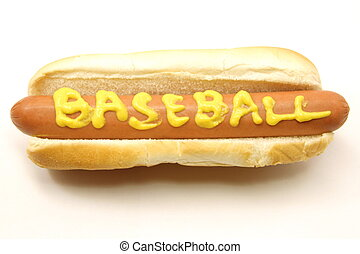 Foot Long Hot Dog with Baseball written in mustard