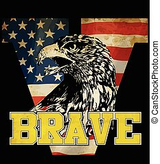 Eagle tee graphic with american flag