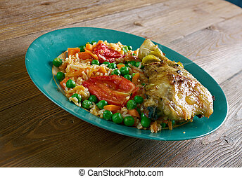 Arroz con pollo a la mexicana - Chicken and rice dish from...