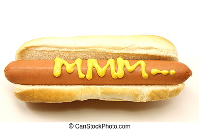 Foot Long Hot Dog with MMM... written in mustard.