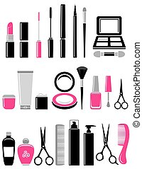 beauty set of cosmetics icon