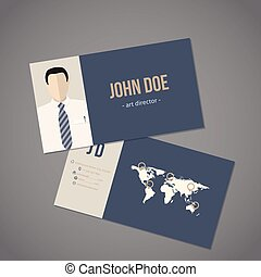 Modern business card with world map