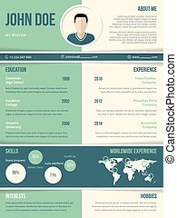 Modern resume cv template with color elements