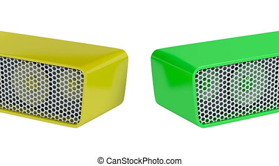 Colorful wireless speakers on white background