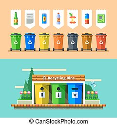 Waste management and recycle concept. Flat vector. - Waste...