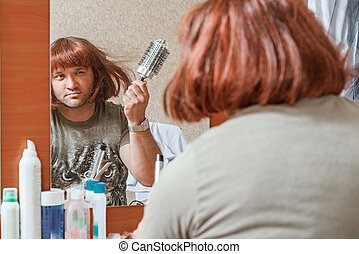 Man combs wig Beauty salon, dressing room