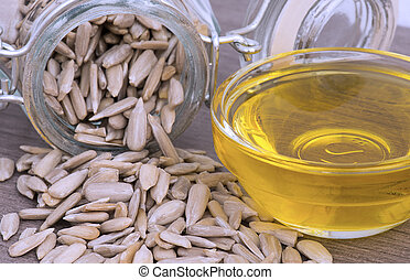 sunflower seeds in a mason jar - Peeled sunflower seeds in a...