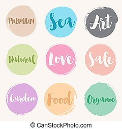 Water colour style of retro label templates - Set of water...