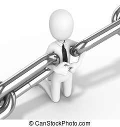 3d man businessman kneeling holding chain together on white...