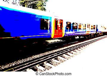 Passing Train - Posterized view of a passing train on a...