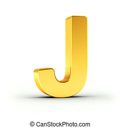 The letter J as a polished golden object with clipping path