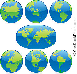 vector illustration colored world map and globes - fully...