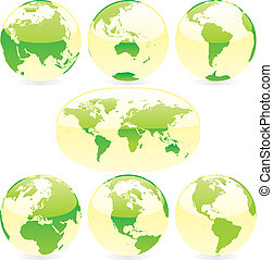 vector illustration  colored world map and globes