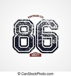 varsity number garment theme vector art illustration