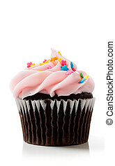 Pink chocolate cupcakes on white