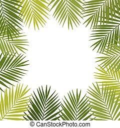Palm leaf silhouettes frame. Tropic