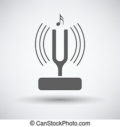Tuning fork icon on gray background with round shadow Vector...