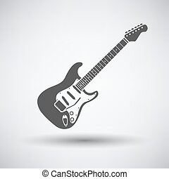 Electric guitar icon on gray background with round shadow...