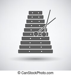Xylophone icon on gray background with round shadow Vector...