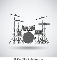 Drum set icon on gray background with round shadow Vector...