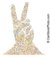 Multicolored Musical Victory Gesture