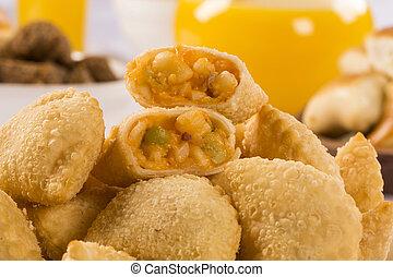 Brazilian snack Palmetto pastry Pastel de palmito -...