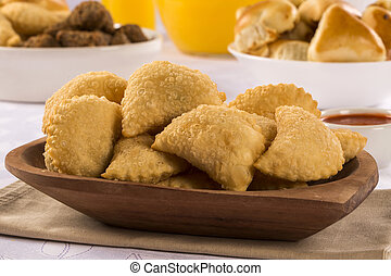 Brazilian snack. Palmetto pastry. Pastel de palmito. -...