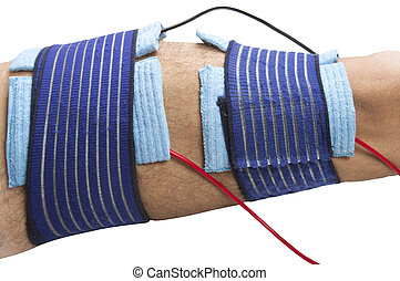 physical therapy - position TENS electrodes for the...