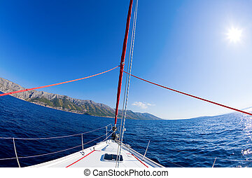 Sailing adventure - Fisheye image of the bow of a sailboat...